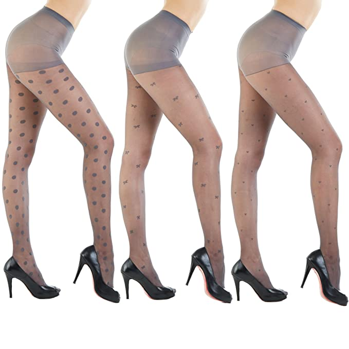 60e15deb0 Women s Patterned Footed Tights Pantyhose 3pair or 2pair (One Size   XS to  M