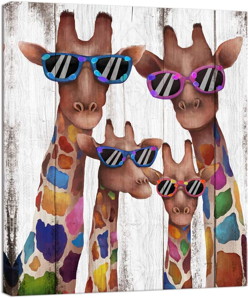 Visual Art Decor Mom Dad Babies Giraffes Canvas Prints Animal Painting Wall Decor Dual View Picture on Wood Background Canvas Prints Wall Art Decor for Modern Home Kids Bedroom Nursery Decoration