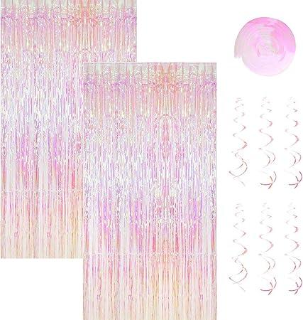 2 Pack 1 2 45m Metallic Lametta Vorhänge Mit 6 Stücke Deko Spiralen Girlande Folie Vorhang Fransen Vorhänge Lametta Vorhänge Dekoration Für Weihnachten Geburtstag Hochzeit Hintergrund Photo