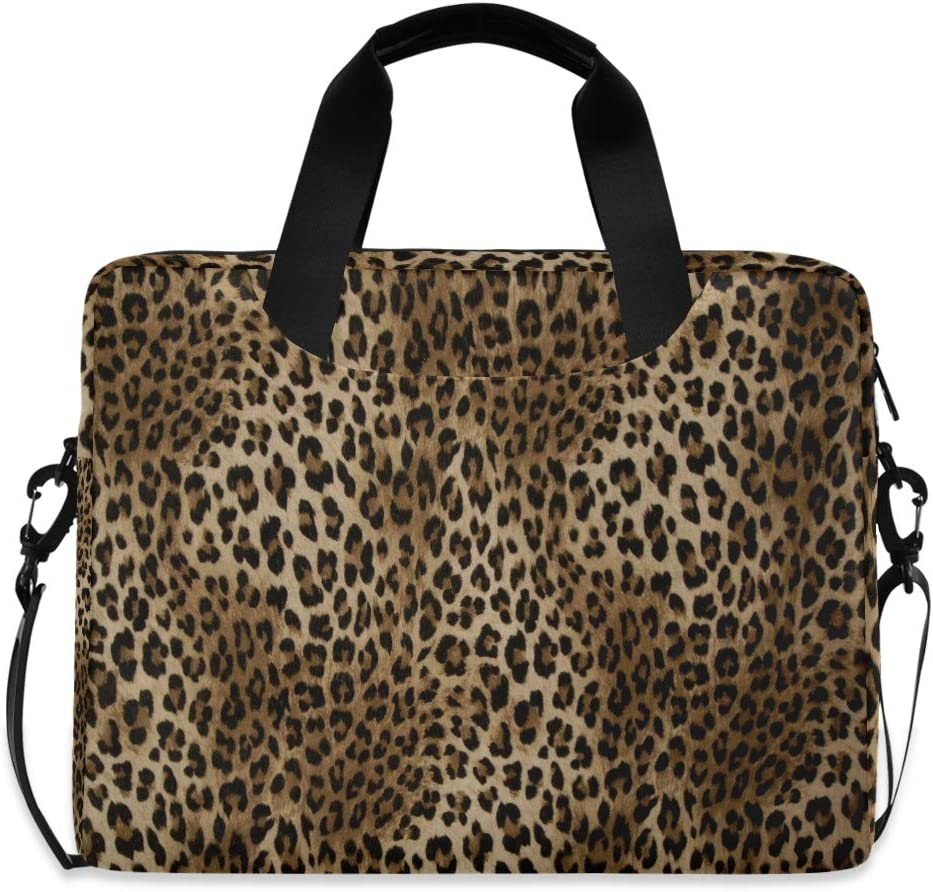MAHU Laptop Case Bag Leopard Animal Skin Print Laptop Sleeves Briefcase 13 14 15.6 inch Computer Messenger Bag with Handle Strap for Women Men Boys Girls