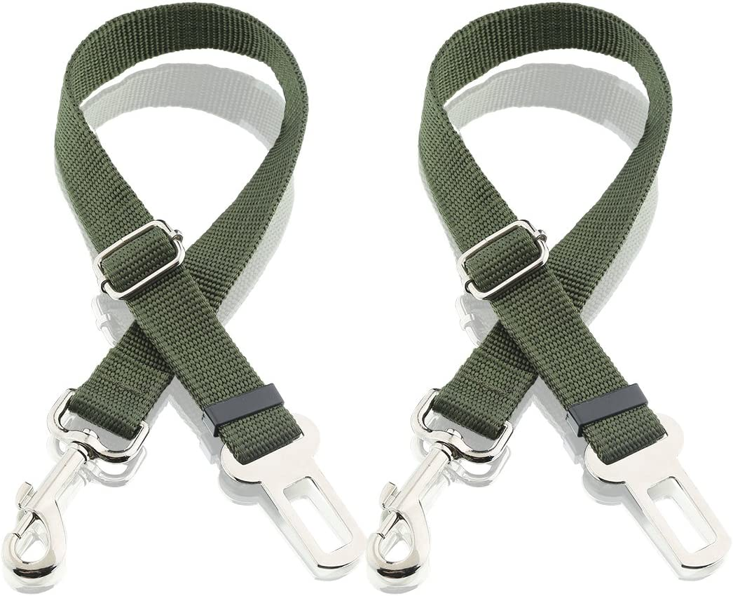 Dog Seat Belt, Harness Car Safety Seatbelt 2 Packs, Adjustable Nylon Strap and Universal Clip for Buckle up Dogs Puppy Cats Pets,Shock Absorbing for Safe Travel – Green