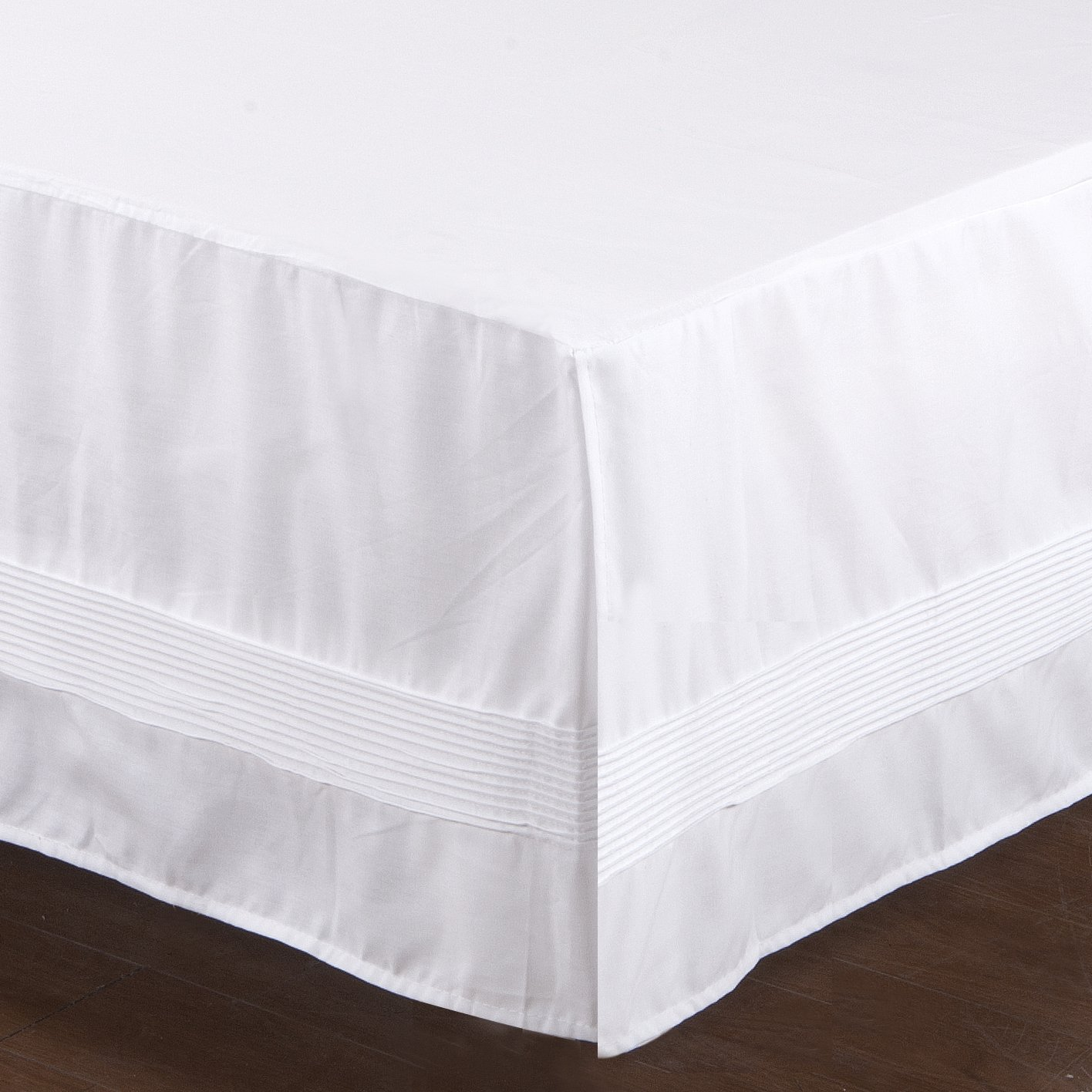 Valea Home Bed Skirt with Stitch on White Dust Ruffle with Split Corners, Durable Elegant Luxury Bedskirt King 14-inch Tailored Drop