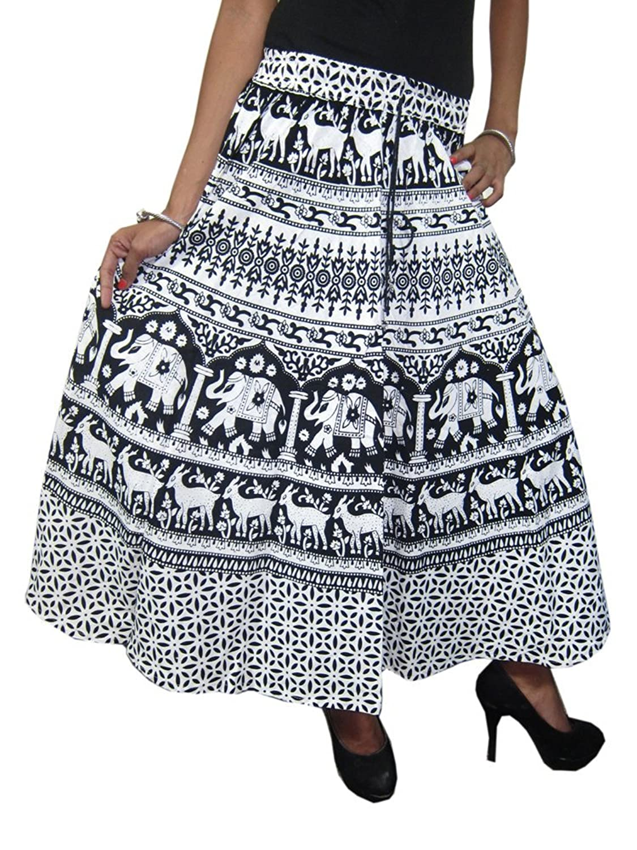 Mogul Interior Women's Skirt Elephant Printed Bohemian Peasant Black/White