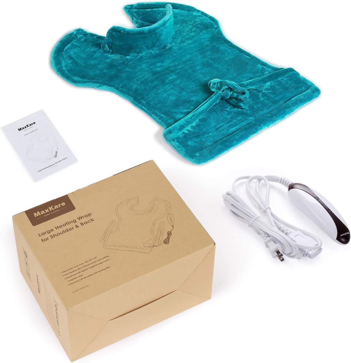 """Large Heating Pad for Back and Shoulder Pain, 24""""x33"""" Heat Wrap with Fast-Heating and 5 Heat Settings for Sport Sorness and Cramps Relief, Auto Shut Off Available-Lake Green: Health & Personal Care"""