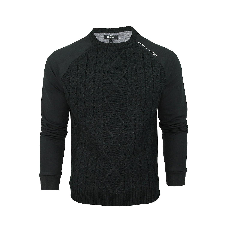 Mens Sweater Jumper Firetrap Brompton Crew Neck Knitted Panel Sweatshirt