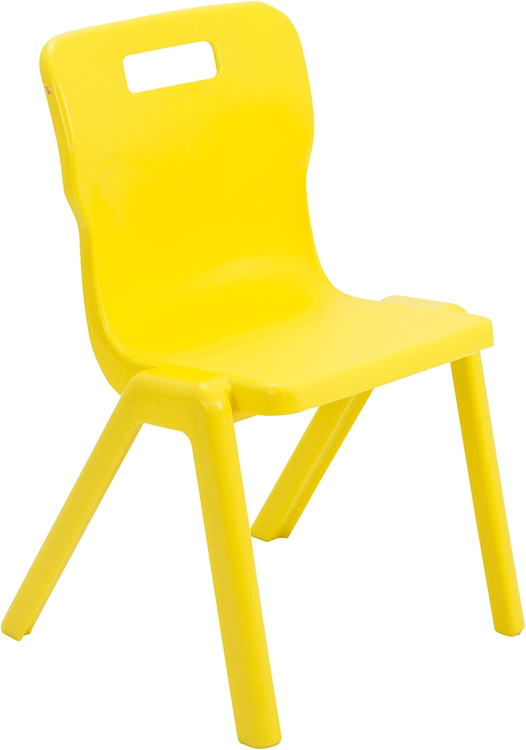 Titan One Piece Classroom Chair Plastic Size 4 for Ages 8-9 Years Yellow Pack of 4