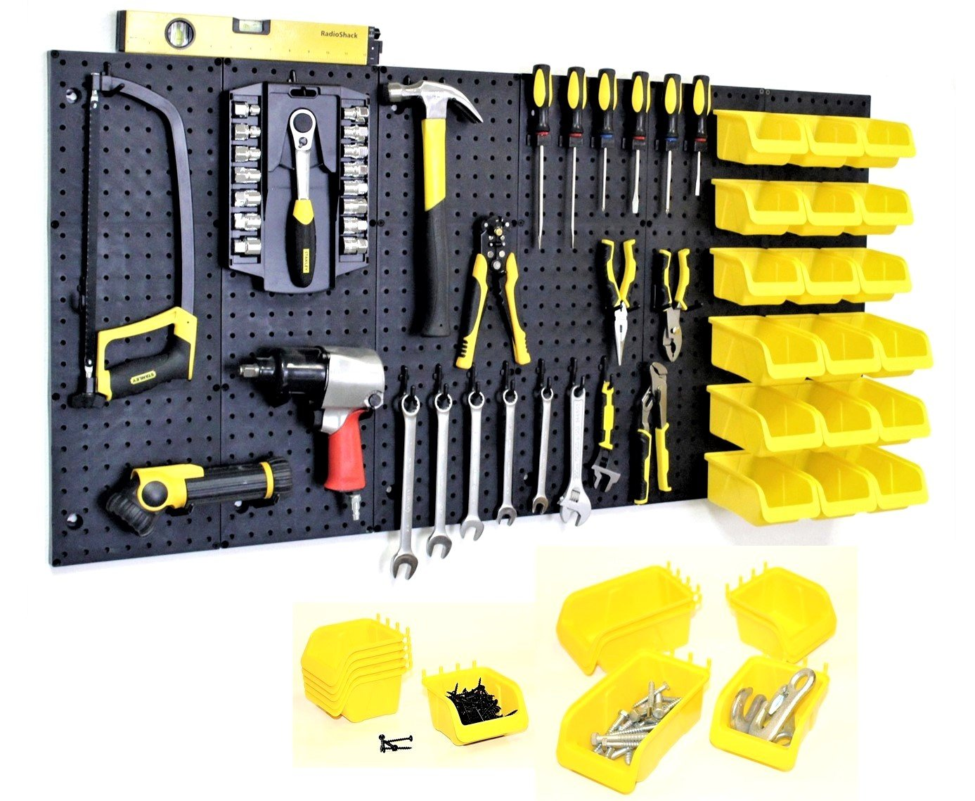 WallPeg Garage Storage System with Panels, Bins, Peg Board Hooks and Panel Set - Tool Parts and Craft Organizer (Kit with 18 Bins) by WallPeg