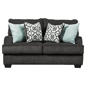 Magnificent Benchcraft Charenton Contemporary Upholstered Loveseat Charcoal Grey Gamerscity Chair Design For Home Gamerscityorg