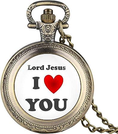 YQGOO Ich Liebe Dich Jesus Serie Taschenuhr für männliche