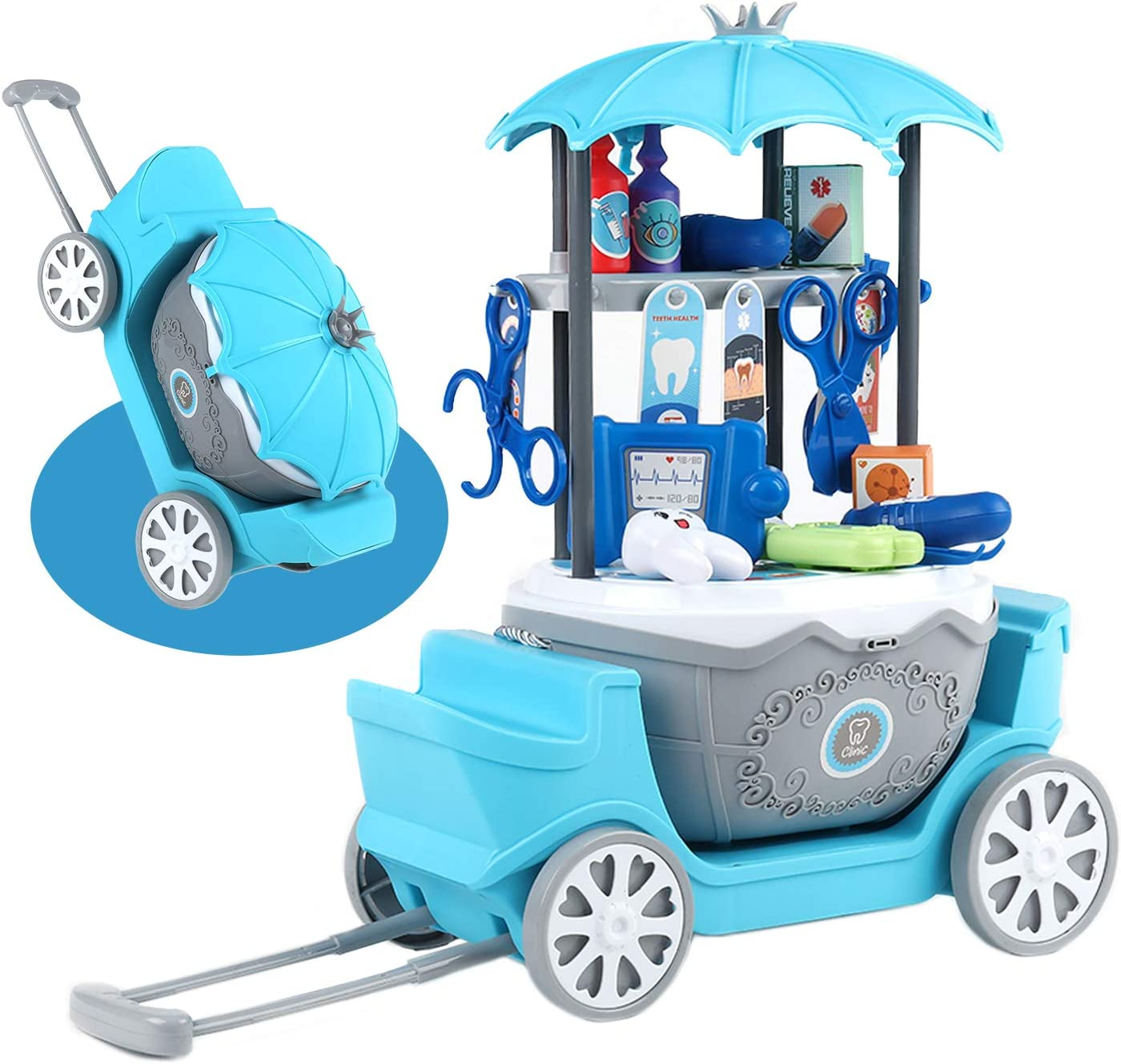 Kids Doctor Playset, 40Pcs Doctor Pretend Play Equipment, Dentist Toy Kit with Carrying Case and Cart, Doctor Role Play Educational Toy for Toddler Boys Girls