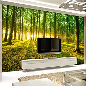 Amazon Com Xbwy Photo Wallpaper Modern 3d Stereo Forest Sunshine Nature Scenery Photo Wall Murals Living Room Tv Sofa Backdrop Wall Home Decor 400x280cm Kitchen Dining