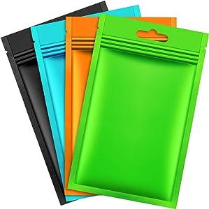 200 Pieces Mylar Zip Lock Bags Aluminum Foil Bags, Flat Metallic Mylar Foil Flat ZipLock Food Storage Bags Pouch (Multicolor, 9 x 15 cm)