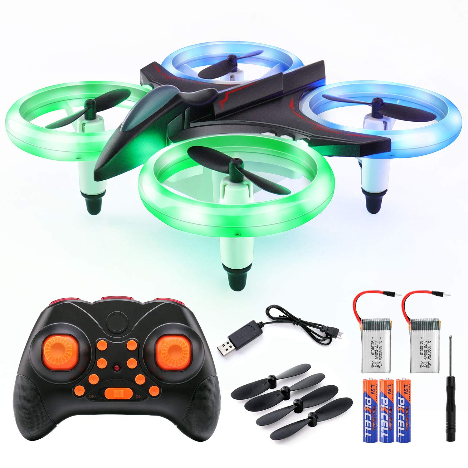 Veken Mini RC Drone Quadcopter for Kids Adults 2.4Ghz 4 CH 6-Axis Gyro RC Helicopter with LED Lights, Auto Hovering, One Key Take Off/Landing, 3D Flip, Headless Mode Good Choice Drone for Beginners by Veken