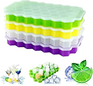 Ice Cube Trays, 4 Pack Food Grade Silicone Flexible Ice Cube Molds with Lid, BPA Free with Spill-Resistant Removable Lid Ice Cube Molds for Chilled Drinks, Whiskey & Cocktails
