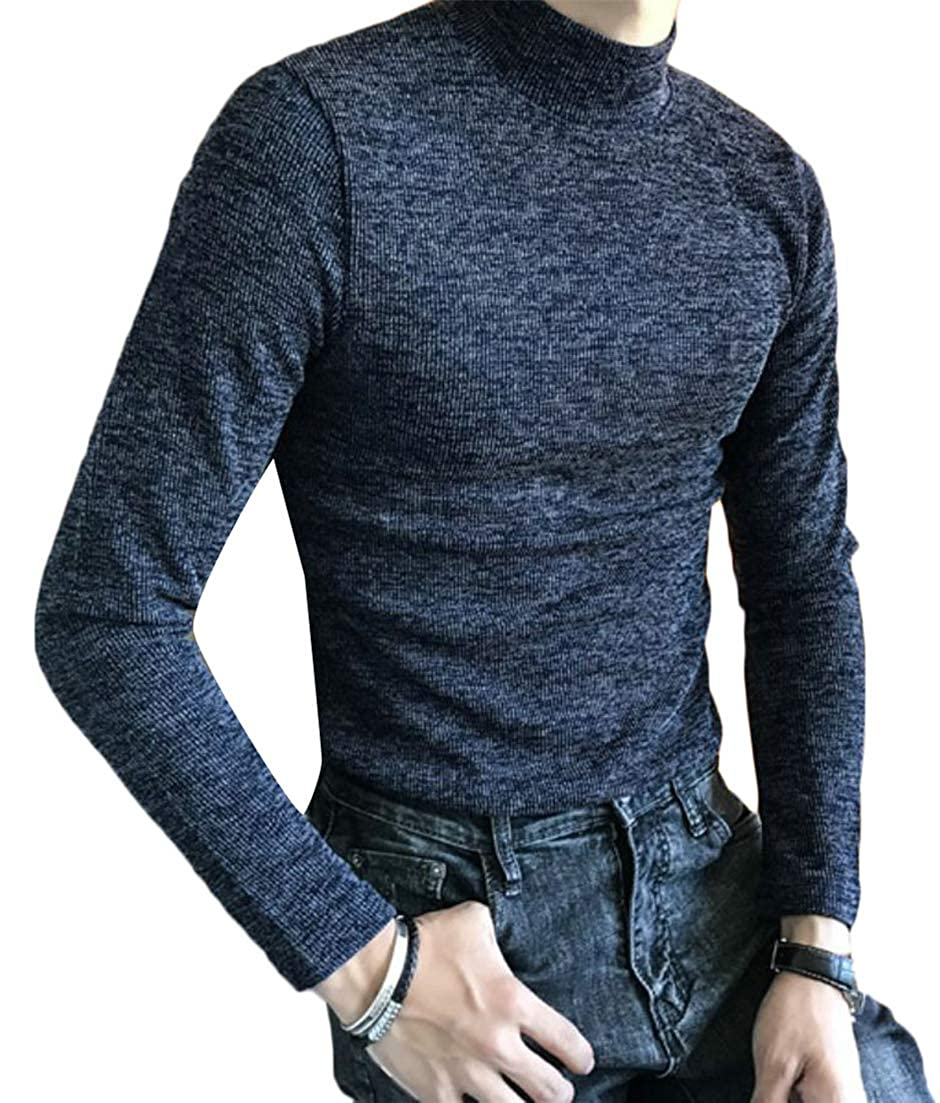 Wofupowga Mens Vogue Tops Mock-Neck Long Sleeve Pure Color Tee Shirts