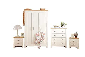 Country white bedroom furniture Free Standing Yakoe 4piece Country Style Ledbury Bedroom Furniture Set Including Wardrobechestbedside The Spruce Yakoe 4piece Country Style Ledbury Bedroom Furniture Set Including