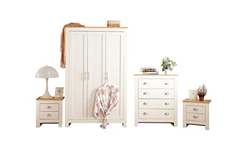 YAKOE 4-Piece Country Style Ledbury Bedroom Furniture Set Including  Wardrobe/Chest/Bedside Table, oak, White, 180 x 112 x 49.5 cm
