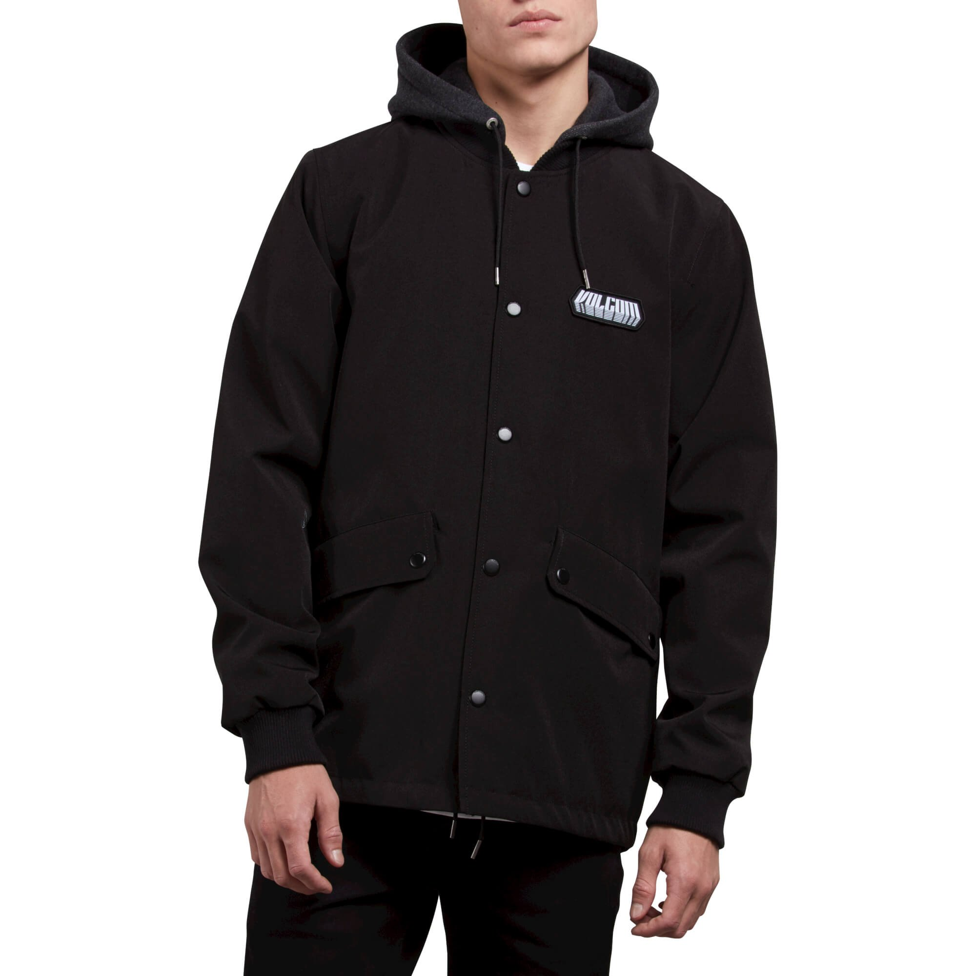 Volcom Men's Highstone Fleece Hooded Weight Coach Jacket, Black, Medium