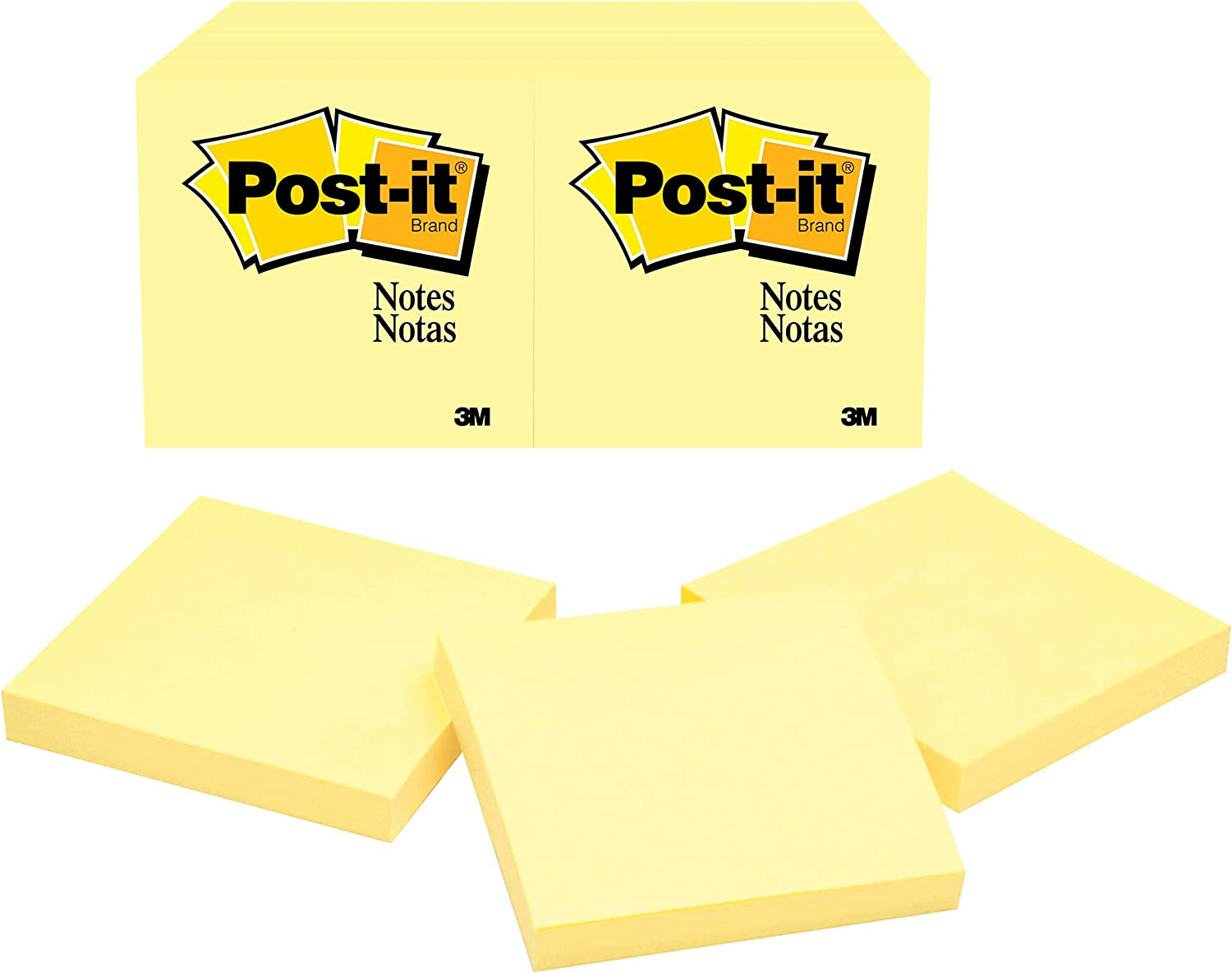 Post-it Notes 3x3 in, 12 Pads, America's's #1 Favorite Sticky Notes, Canary Yellow, Clean Removal, Recyclable (654)