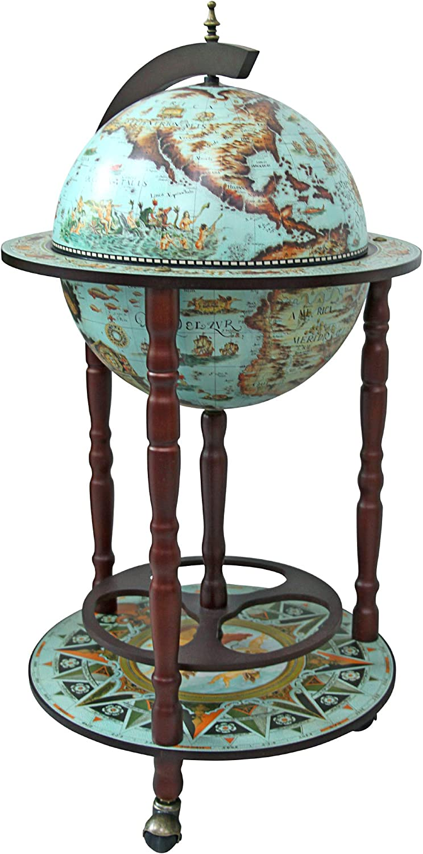 Design Toscano Sixteenth Century Replica Globe Bar Cabinet, 36 Inch, Cielo Blue