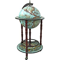 Design Toscano Sixteenth-Century Italian Replica Globe Bar Cart Cabinet on Wheels, 96.5 cm, MDF Wood, Sepia Finish