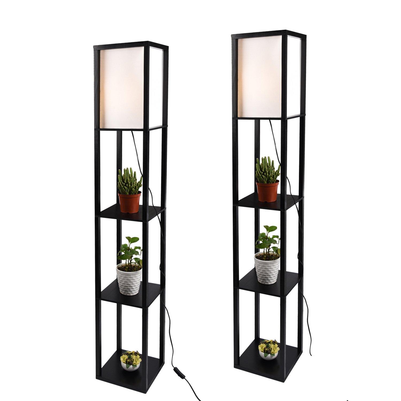 Simple Design Shelf Floor Lamp, White Shade, 63 Inch Height, with Open-Box Shelves, Black, 2 Pack