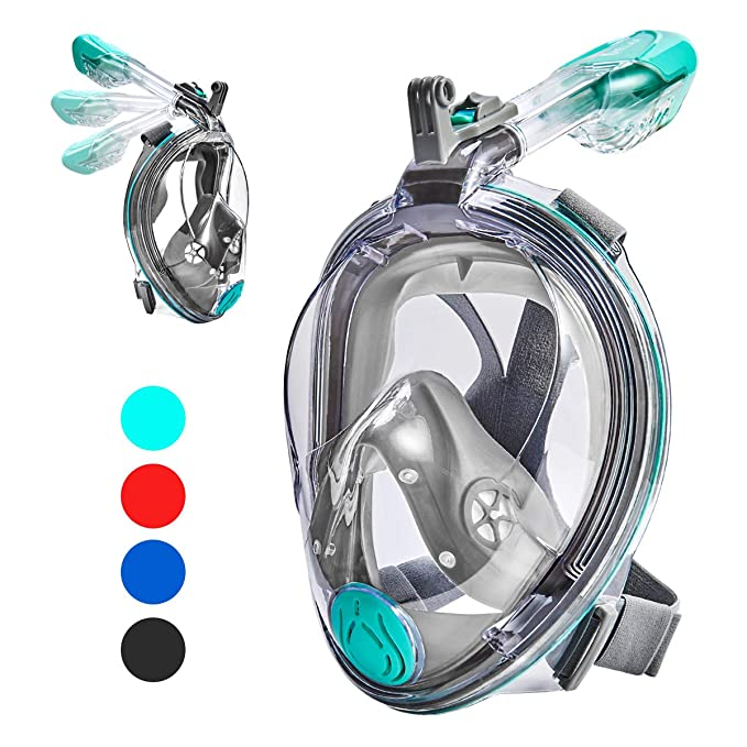 VELLAA Snorkel Mask Full Face for Kids and Adults, Dry Top Set Anti-Fog Anti-Leak 180 Panoramic Large View Free Breath with Detachable Camera Mount, Adjustable Head Straps Foldable Snorkeling Mask best snorkel masks