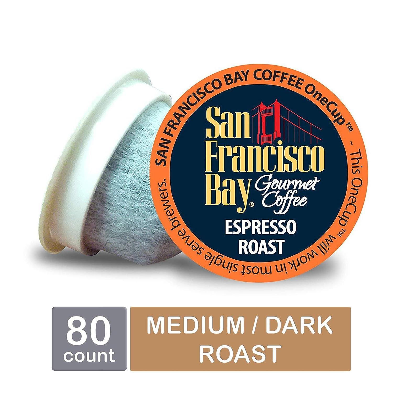 San Francisco Bay OneCup, Espresso Roast, Single Serve Coffee K-Cup Pods (80 Count) Keurig Compatible