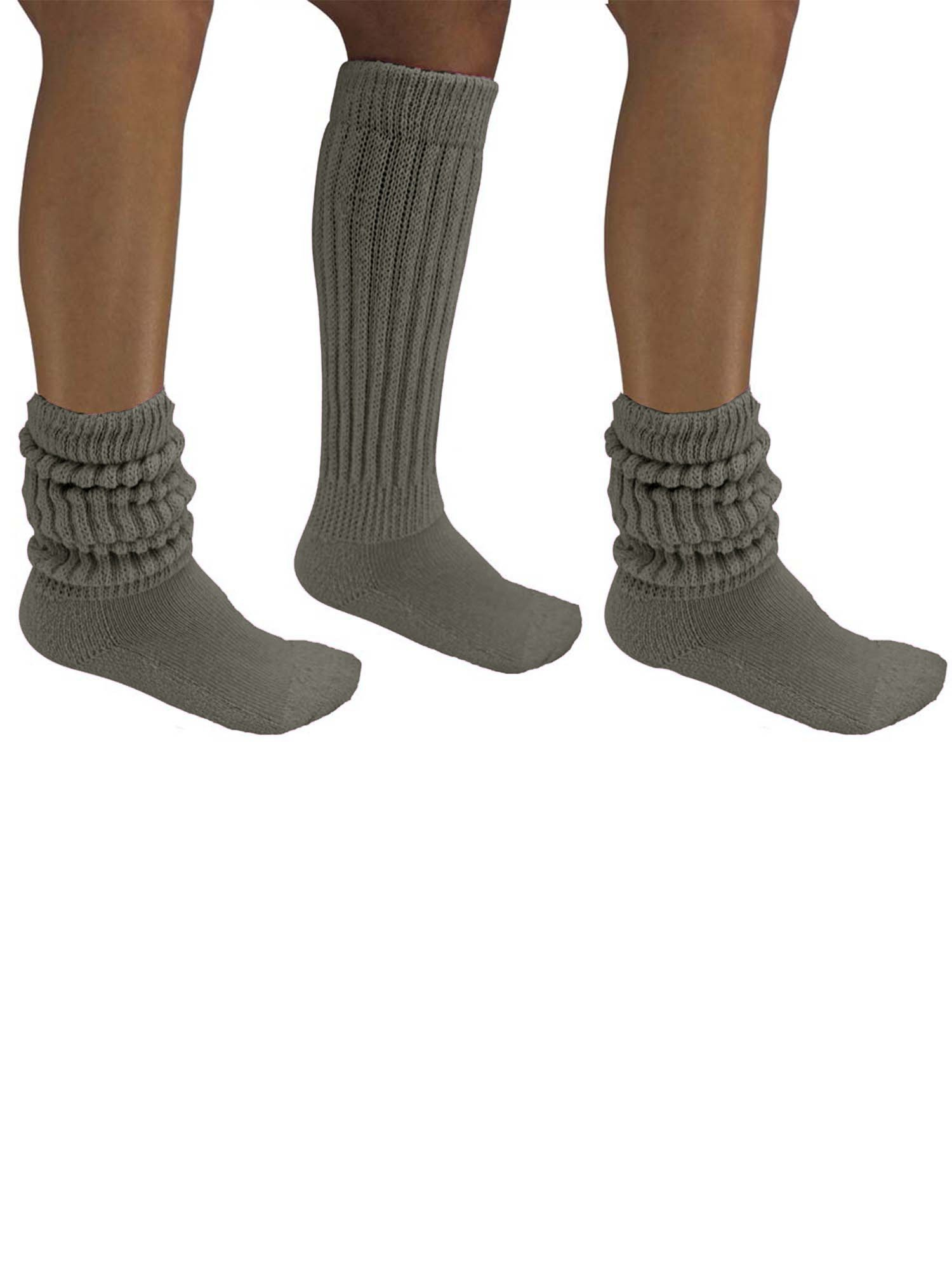 Dark Gray All Cotton 3 Pack Extra Heavy Super Slouch Socks