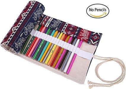 kaariss Canvas Pencil Wrap, rollo de papel de dibujo colorear lápiz Organizador para lápices de artista, estuche de viaje kaariss Funda de sujeción para 72 lápices de colores (lápices no están incluidos):