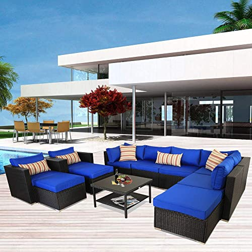 Leaptime Patio Sofa Sectional Outdoor Couch Set 11-Piece Garden Seating Black Rattan Royal Blue Cushion