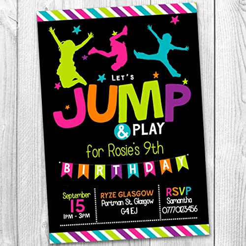 10 Jump Trampoline Bounce AirSpace Rise Themed Personalised Birthday Party Invitations Invites