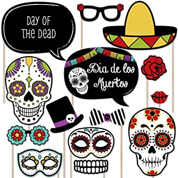 Day of the dead dia de los muertos photo booth props kit 20 count