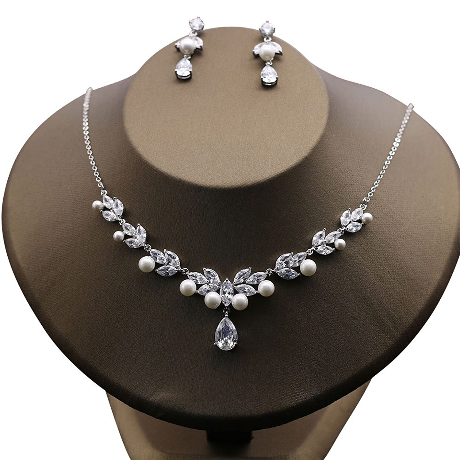 Kanrome Charming Necklace Choker with Earrings Cubic Zirconia Jewelry Sets