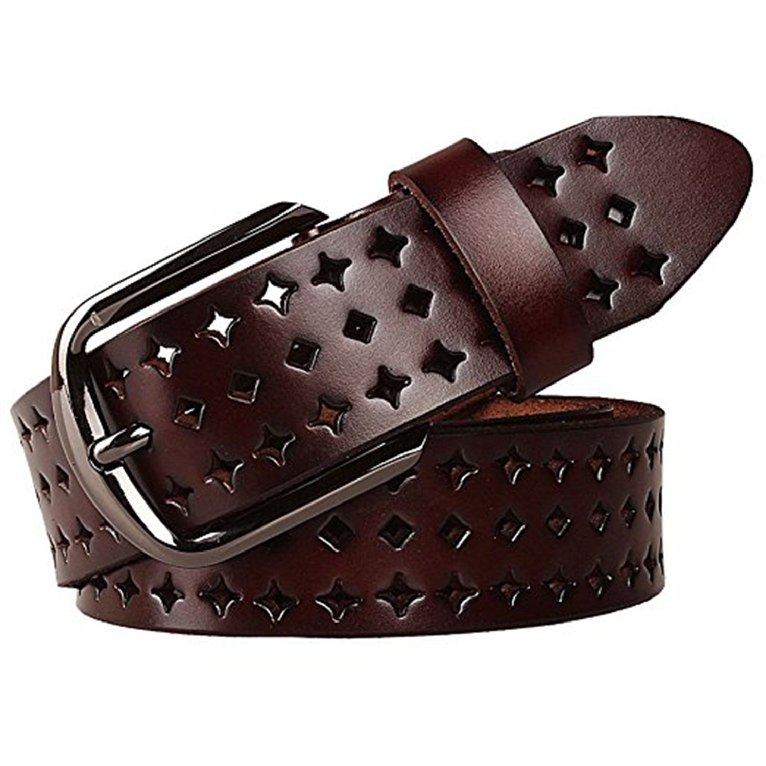 JasGood Fashion Genuine Leather Belt For Women Dress Belt Unique Style(E-Dark Brown),E-dark Brown,One Size