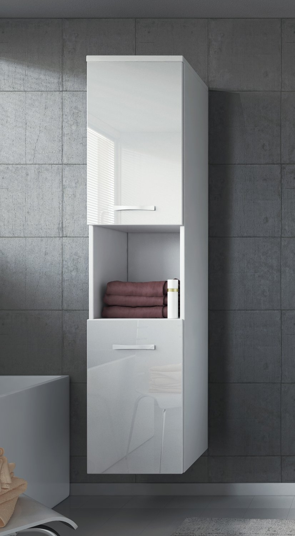 Badplaats Storage cabinet Montreal 131cm height white high gloss - Storage cabinet tall cupboard bathroom furniture