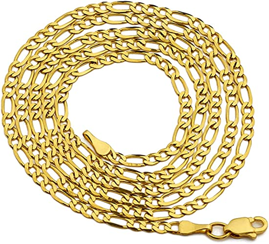 20Inch 18K GOLD Fiilled Fashion Jewelry 6MM Man Figaro Snake Chain Link Necklace