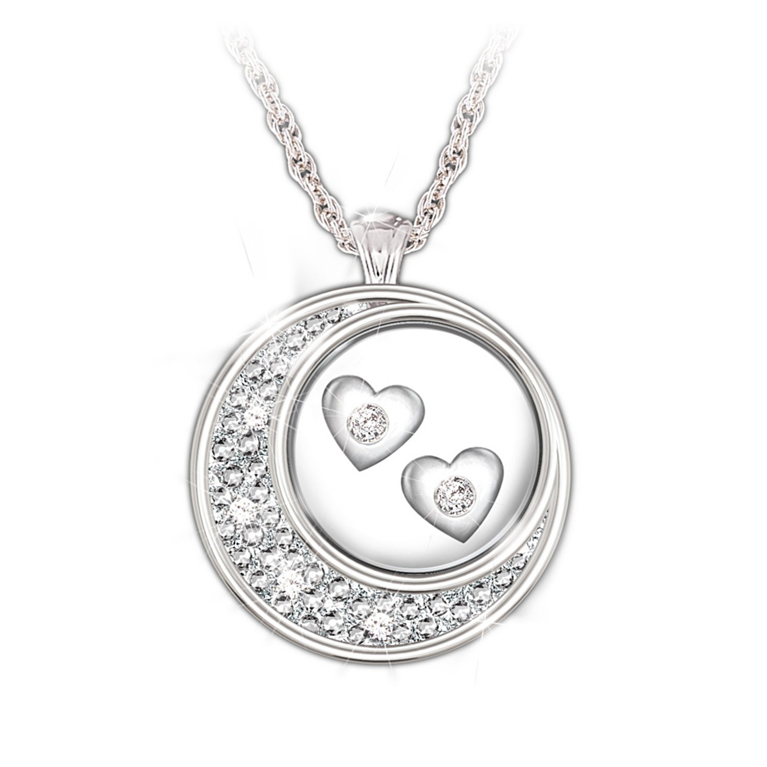 Sterling Silver And Diamond Pendant Necklace: I Love You To The Moon And Back by The Bradford Exchange