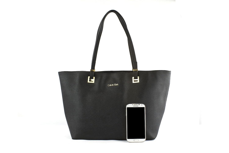 Calvin Klein Scarlett Saffiano Leather Shopper Tote (Black)