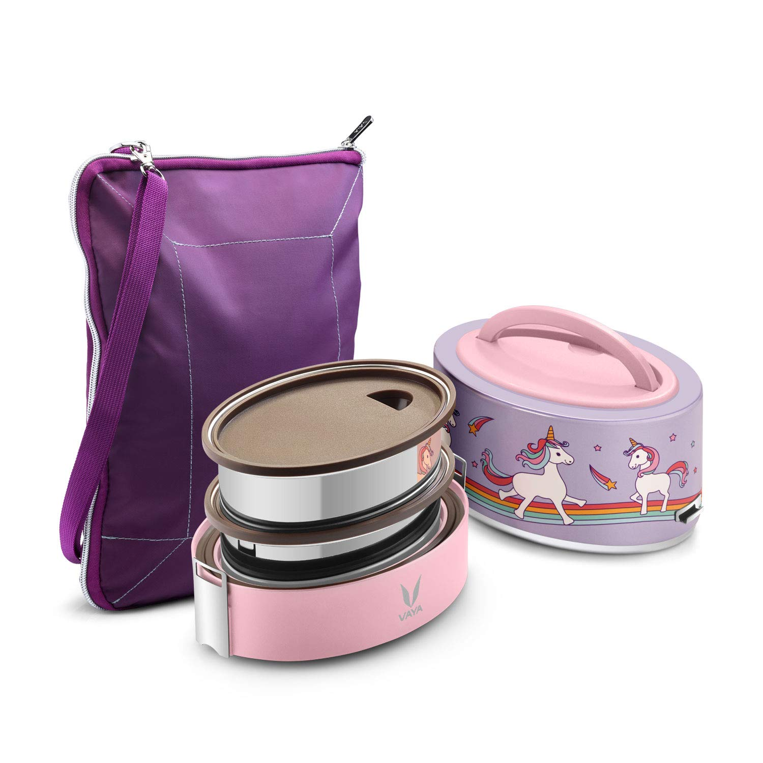 Vaya Tyffyn Unicorn Polished Stainless Steel Lunch Box for Kids with Bagmat, 600 ml, 2 Containers, Pink (B07H6L7825) Amazon Price History, Amazon Price Tracker