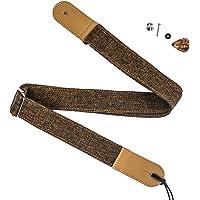 ZEALUX Ukulele Strap Comfortable Cotton Linen & Leather Adjustable Uke Shoulder Strap Suit For All Ukulele & Little Gruitar (Dark Brown)