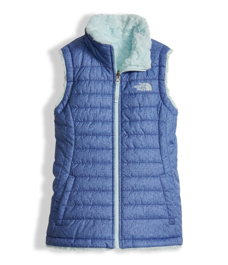 The North Face Girl's Reversible Mossbud Swirl Vest - Bright Navy Denim Print - L (Past Season)