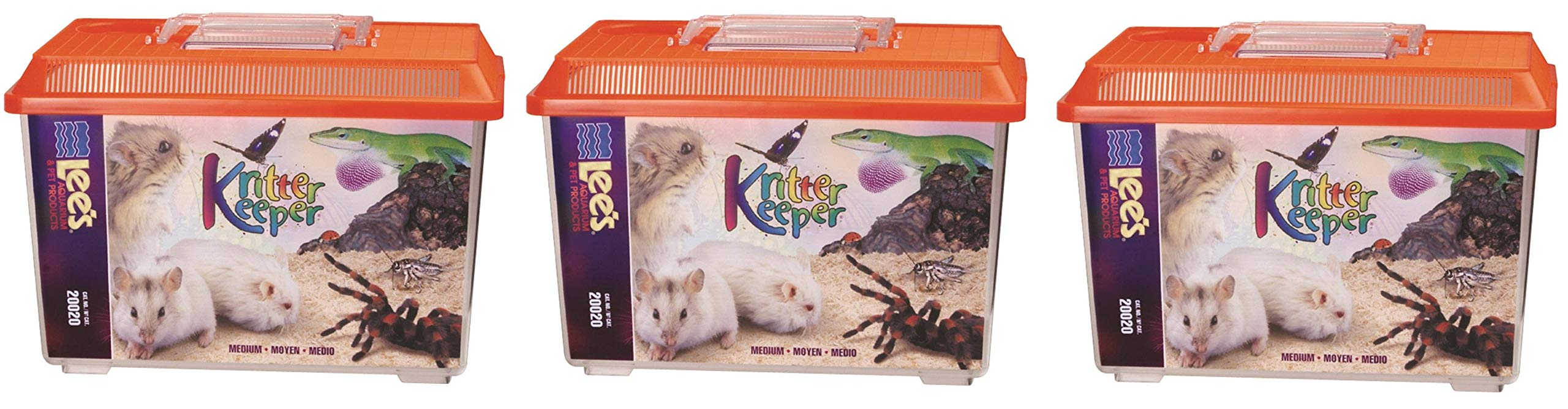 Lee's Kritter Keeper, Medium Rectangle w/Lid, Label, Colors may vary (Тhrее Pаck)