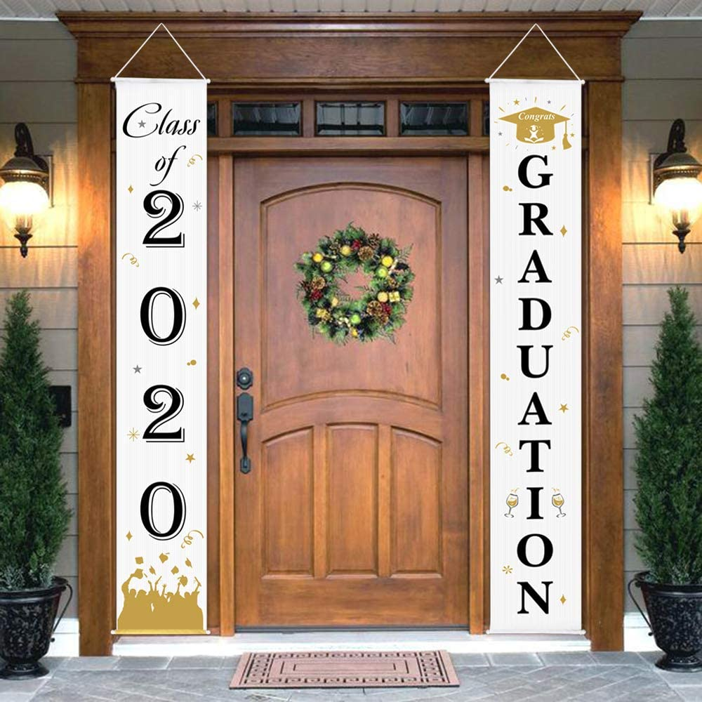 Flying Graduation Hats Class of 2019 Graduation Banner Party Decoration