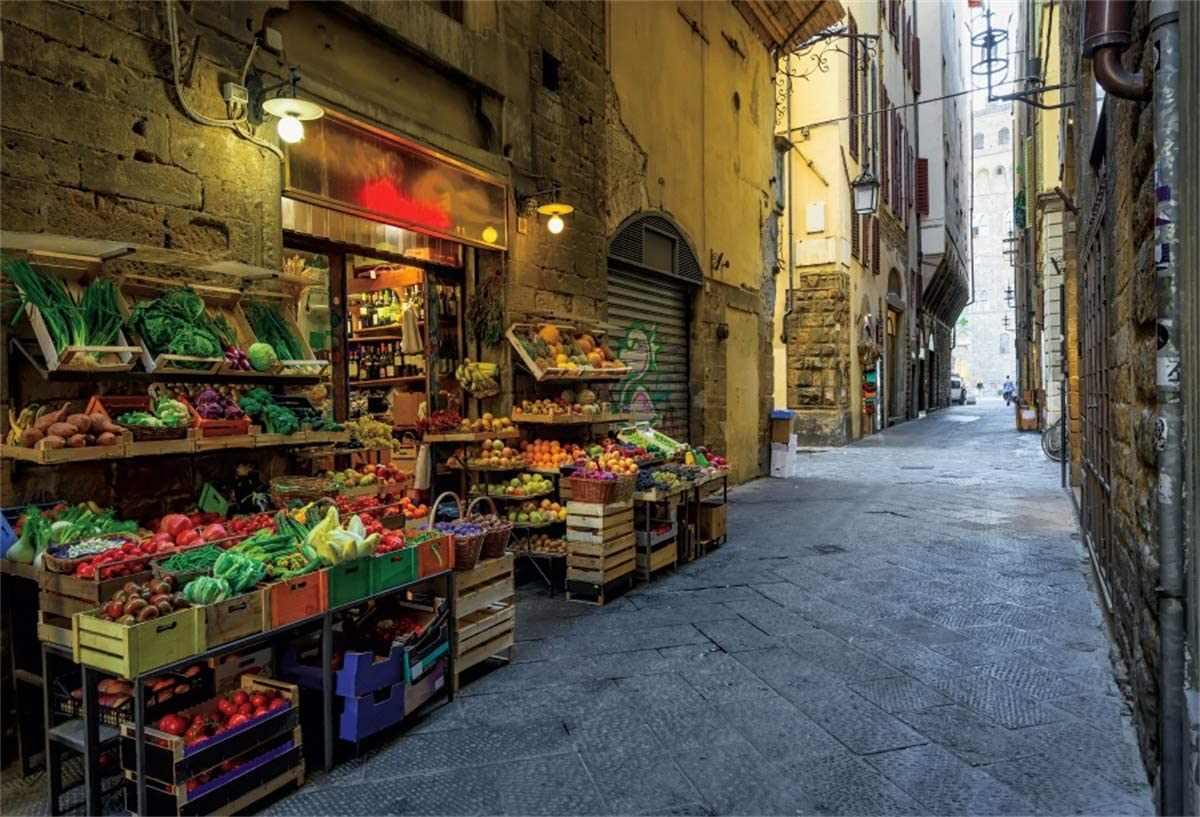 YEELE 12x8ft Florence Cityscape Backdrop Narrow Cozy Street with Vegetable Shop Photography Background Artistic Portrait Work Event City Landscape YouTube Channel Photo Booth Digital Wallpaper