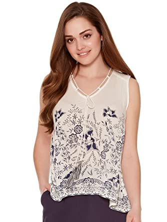 607c3835a5919 M Co Ladies Petite Viscose Ivory Sleeveless Navy Floral Print Sleeveless V  Neckline with Rope Detail Top