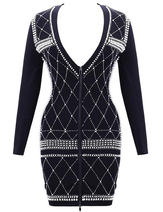 dc094709f8495 VINKKE Women's Deep V Neck Pearl Embellished Long Sleeve Bodycon Mini Dress  Clubwear at Amazon Women's Clothing store: