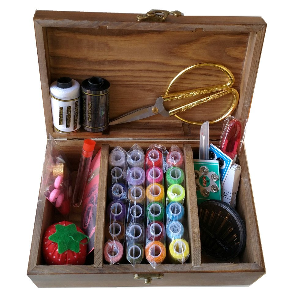 Wooden Sewing Basket//Sewing Box with Sewing Kit Accessories