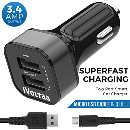 iVoltaa 3.4A Dual Port Car Charger with Micro USB Cable - Black Mobile Phone Car Chargers at amazon