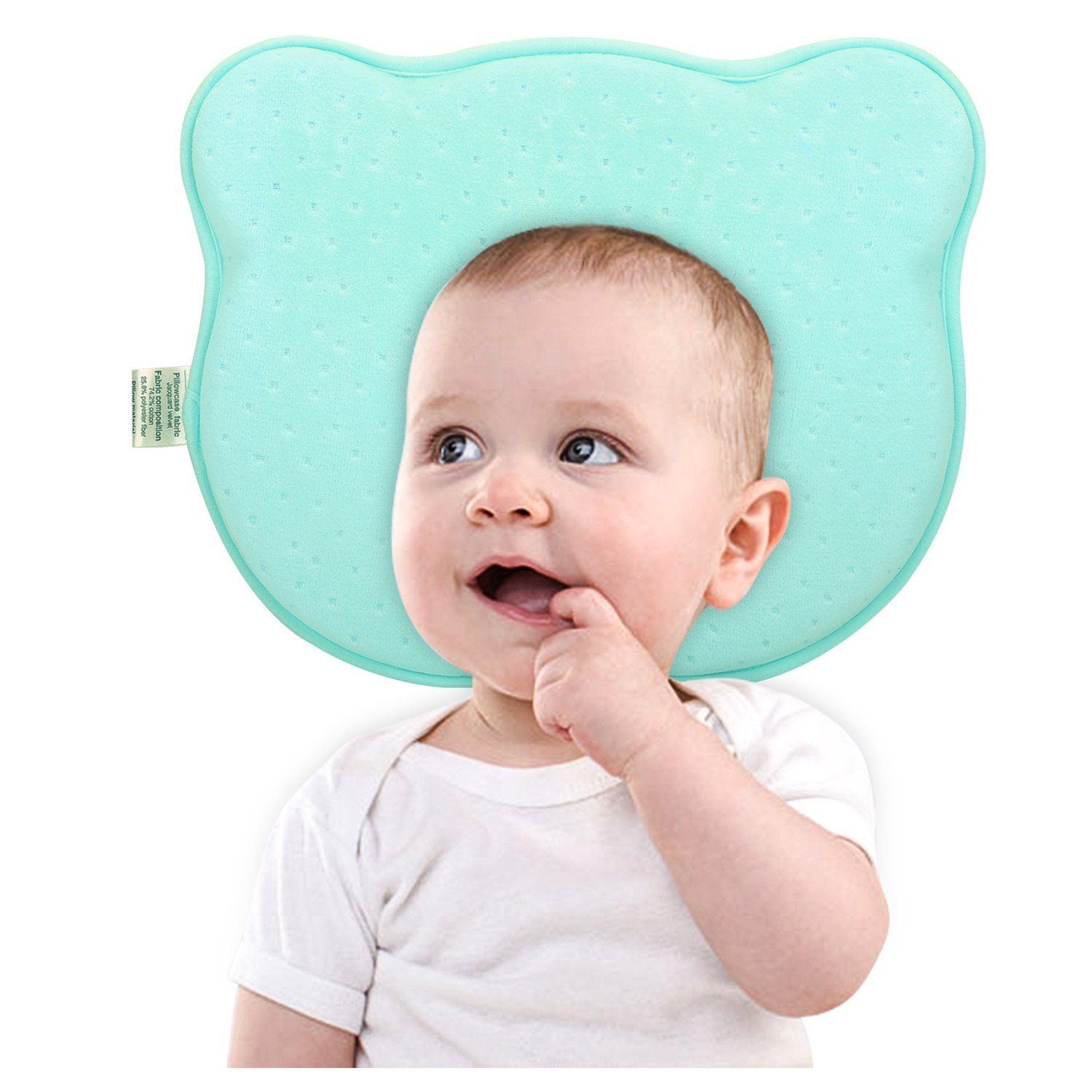 Zooawa Baby Pillow, Memory Foam Protective Head Shaping Pillow and Soft Velvet Pillowcase for Baby Newborn Infant Toddler Kids, Bear Blue